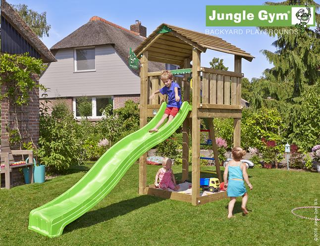 Afbeelding van Jungle Gym houten speeltoren Cottage met groene glijbaan from ColliShop