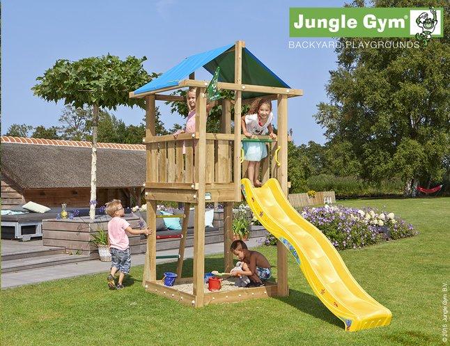 Afbeelding van Jungle Gym houten speeltoren De Hut met gele glijbaan from ColliShop