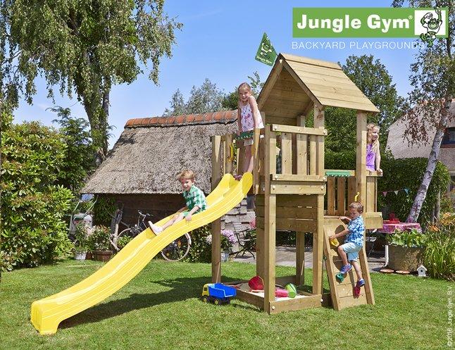 Image pour Jungle Gym tour de jeu en bois Cubby avec toboggan jaune à partir de ColliShop