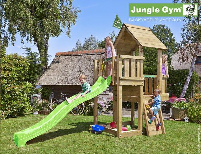 Image pour Jungle Gym tour de jeu en bois Cubby avec toboggan vert à partir de ColliShop