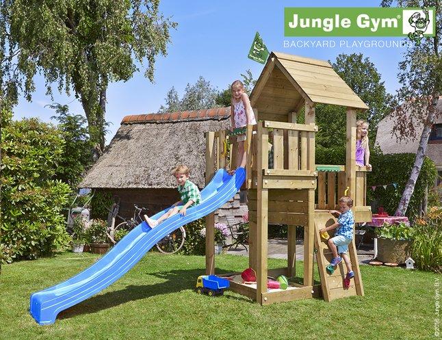 Afbeelding van Jungle Gym houten speeltoren Cubby met blauwe glijbaan from ColliShop
