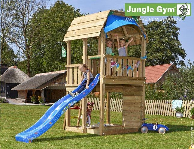 Afbeelding van Jungle Gym Houten speeltoren Barn met blauwe glijbaan from ColliShop