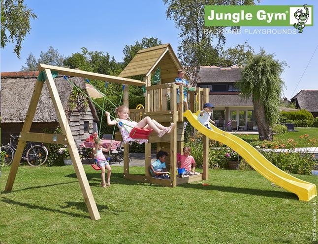 Afbeelding van Jungle Gym houten schommel Cubby met gele glijbaan from ColliShop