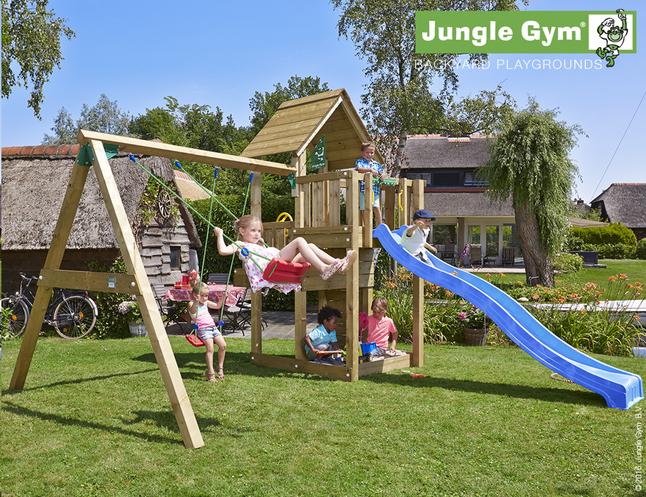 Image pour Jungle Gym portique en bois Cubby avec toboggan bleu à partir de ColliShop