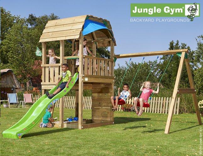 Image pour Jungle Gym portique en bois Barn avec toboggan vert à partir de ColliShop