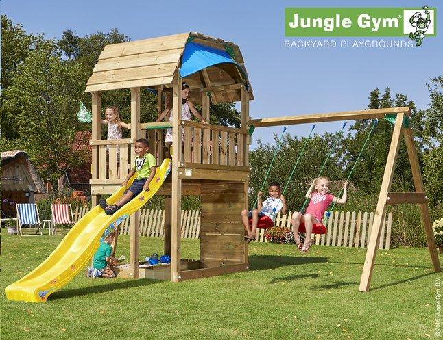 Image pour Jungle Gym portique en bois Barn avec toboggan jaune à partir de ColliShop