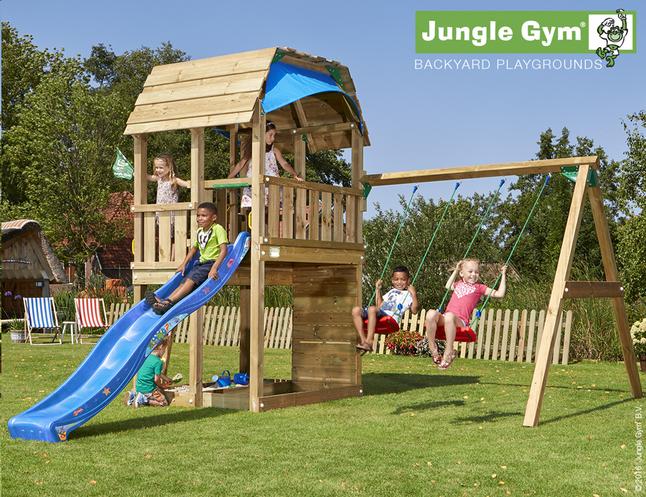 Afbeelding van Jungle Gym houten schommel Barn met blauwe glijbaan from ColliShop