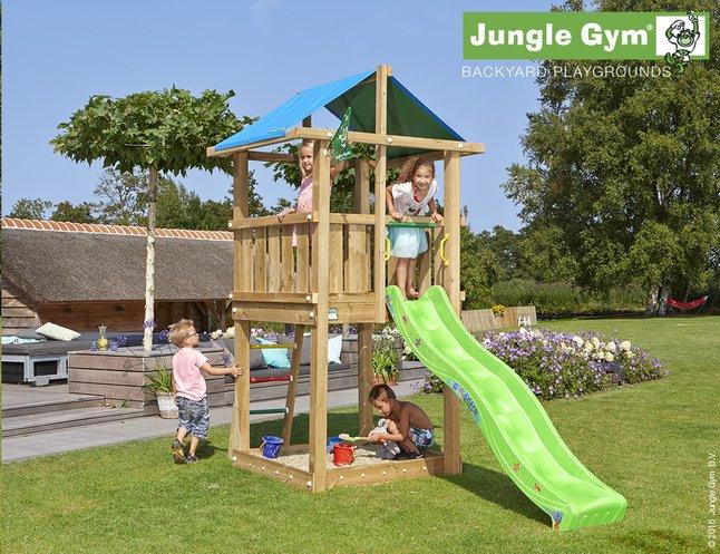 Afbeelding van Jungle Gym houten speeltoren De Hut met groene glijbaan from ColliShop