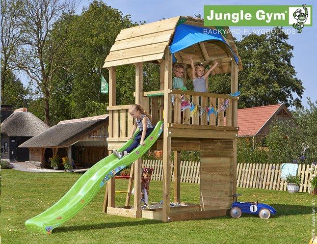 Image pour Jungle Gym tour de jeu en bois Barn avec toboggan vert à partir de ColliShop