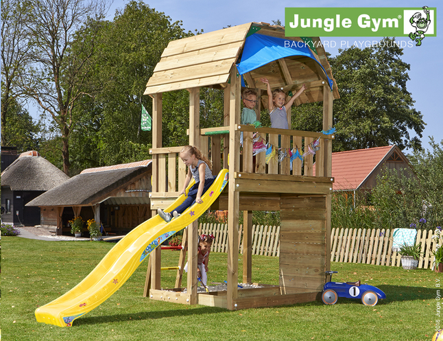 Afbeelding van Jungle Gym Houten speeltoren Barn met gele glijbaan from ColliShop