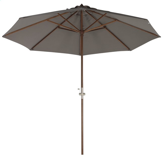 Image pour Parasol de luxe en bois FSC avec manivelle diamètre 3 m gris à partir de ColliShop