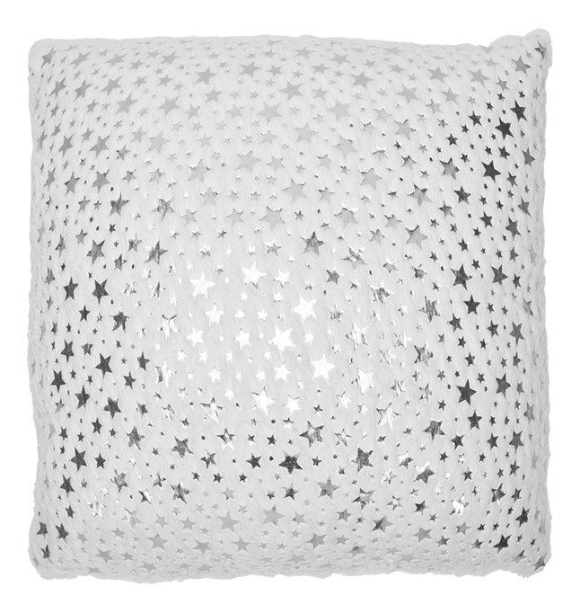Afbeelding van Kussen imitatiebont zilver sterretjes from ColliShop