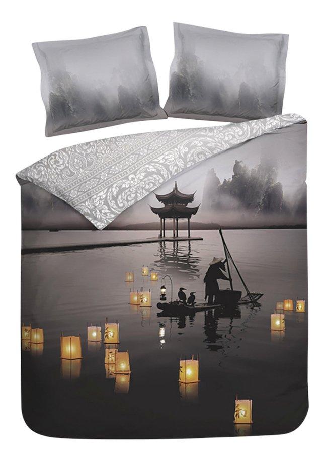 Heckett & Lane Dekbedovertrek Atami Night grey katoensatijn 240 x 220 cm