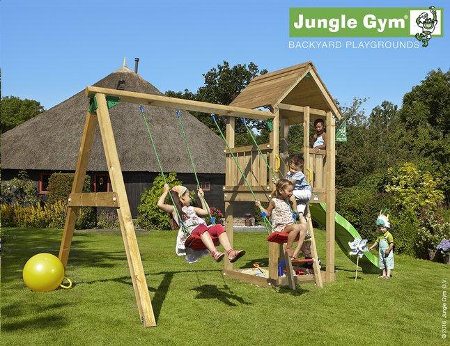 Afbeelding van Jungle Gym schommel met speeltoren Club en groene glijbaan from ColliShop