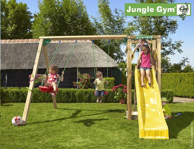 Afbeelding van Jungle Gym schommel met speeltoren Tower en gele glijbaan from ColliShop
