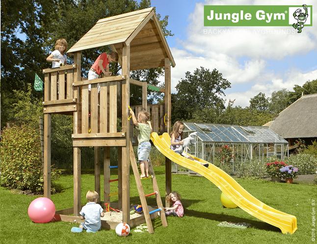 Afbeelding van Jungle Gym houten speeltoren Palace met gele glijbaan from ColliShop