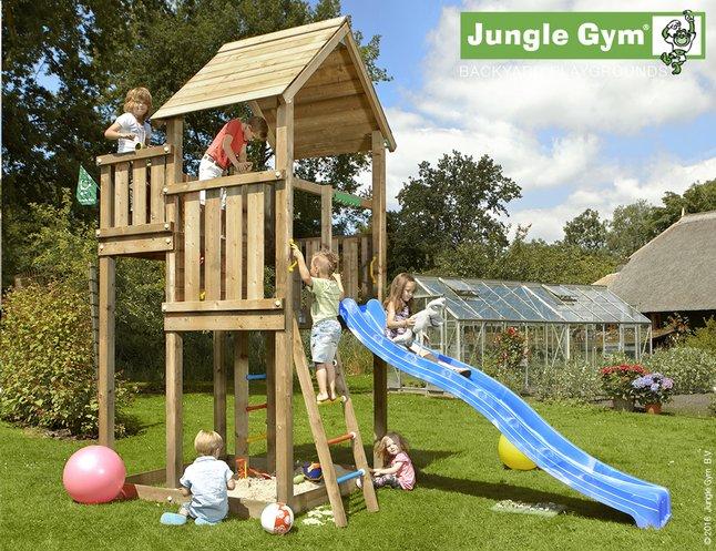 Afbeelding van Jungle Gym houten speeltoren Palace met blauwe glijbaan from ColliShop