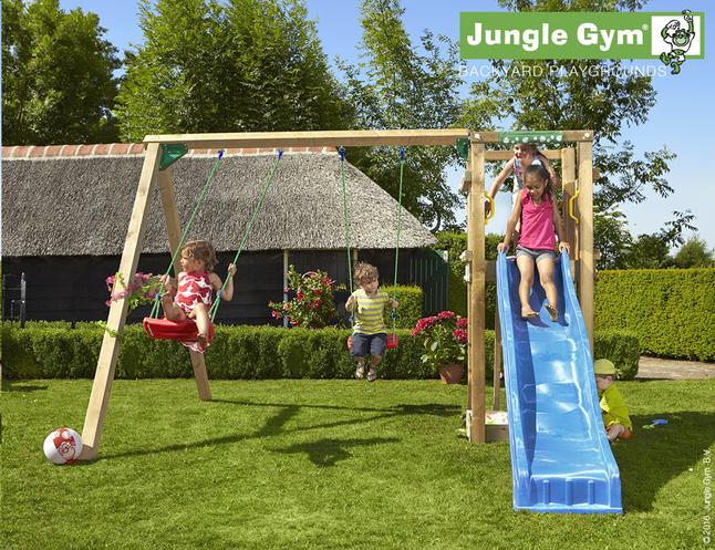 Afbeelding van Jungle Gym schommel met speeltoren Tower en blauwe glijbaan from ColliShop