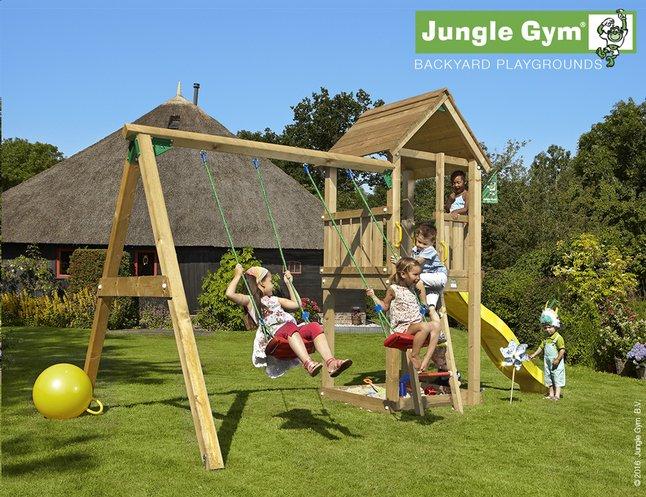 Afbeelding van Jungle Gym schommel met speeltoren Club en gele glijbaan from ColliShop