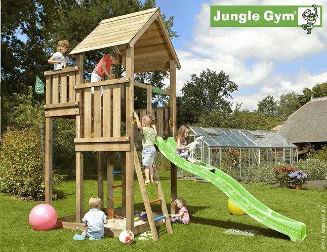 Afbeelding van Jungle Gym houten speeltoren Palace met groene glijbaan from ColliShop