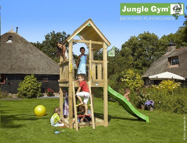 Afbeelding van Jungle Gym houten speeltoren Club met groene glijbaan from ColliShop