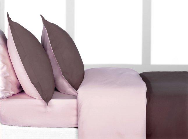 Image pour Home lineN housse de couette Bicolore en flanelle brun/rose 200 x 200 cm à partir de ColliShop