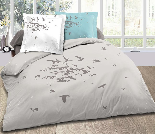 home linen housse de couette birds fly coton 200 x 200 cm. Black Bedroom Furniture Sets. Home Design Ideas