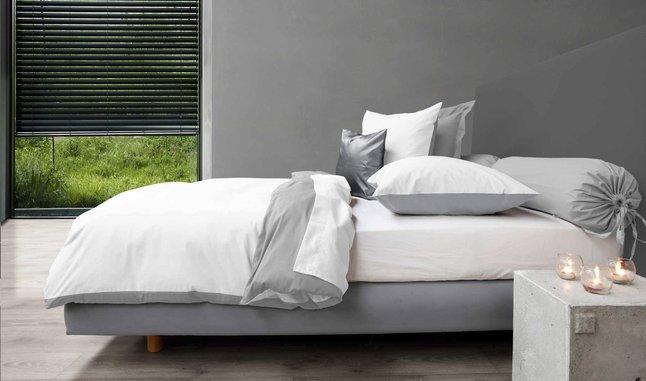 Afbeelding van Home lineN Dekbedovertrek grijs/wit katoen 200 x 200 cm from ColliShop
