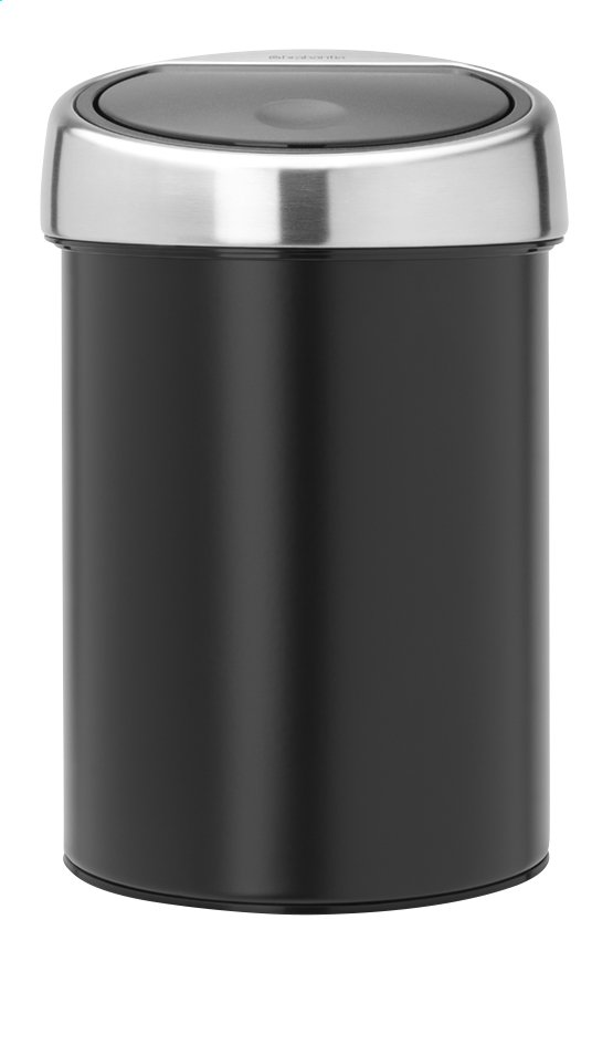 brabantia poubelle touch bin matt black 3 l collishop. Black Bedroom Furniture Sets. Home Design Ideas