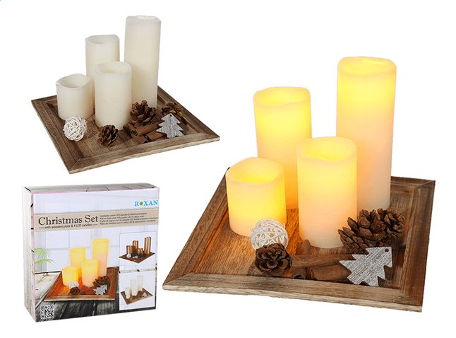 Image pour Plateau en bois avec 4 bougies LED blanc à partir de ColliShop