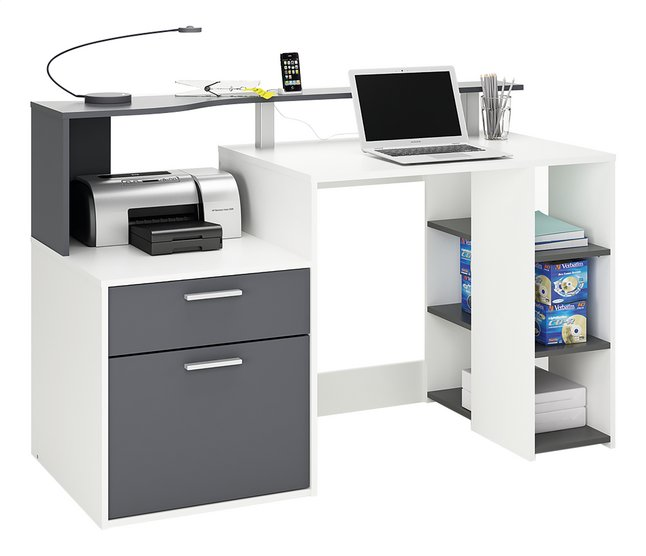 Bureau oracle b 140 cm wit antraciet collishop for Bureau gris et blanc