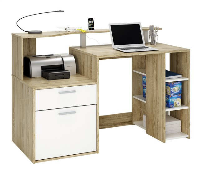 bureau oracle b 140 cm d cor ch ne blanc collishop. Black Bedroom Furniture Sets. Home Design Ideas