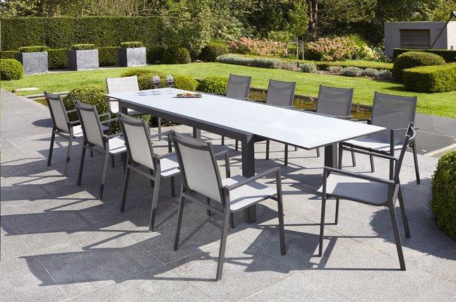 Image pour Jati & Kebon Ensemble de jardin Livorno/Forios gris/anthracite L 220 x Lg 106 cm à partir de ColliShop