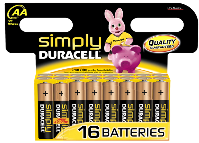 Afbeelding van Duracell Simply 16 AA-batterijen Obelix from ColliShop