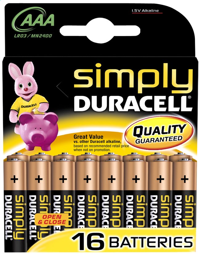 Afbeelding van Duracell Simply 16 AAA-batterijen Obelix from ColliShop