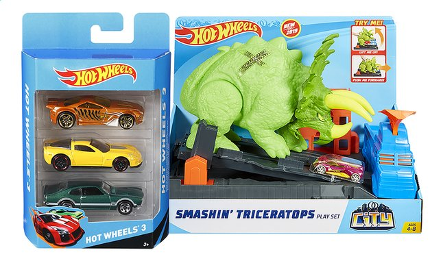 Hot Wheels speelset City Smashin' Triceratops + pack 3 autootjes