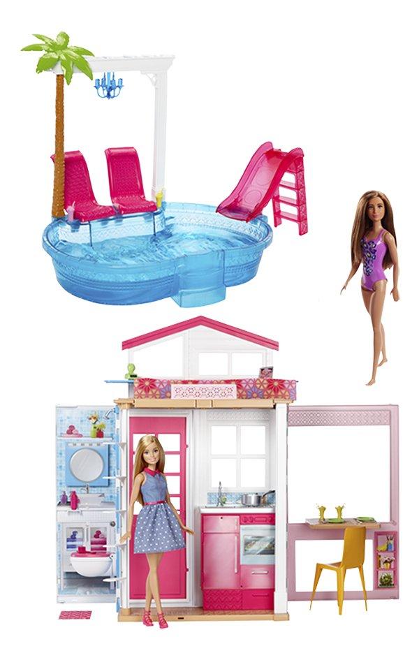 Barbie huis met zwembad en 3 poppen