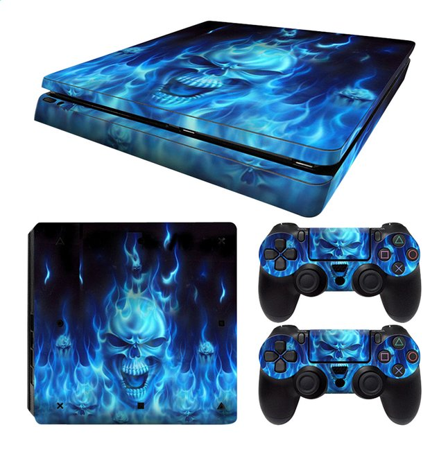 Afbeelding van PS4 Slim console skins + 2 controllers skins Blue Skull from ColliShop