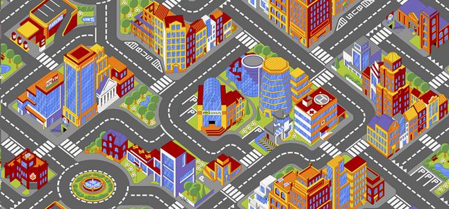 Verkeerstapijt Big City 95 x 200 cm