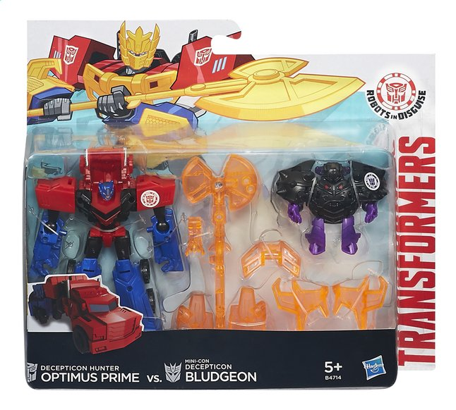 Afbeelding van Set Transformers Robots in Disguise Decepticon Hunter Optimus Prime vs. Mini-Con Decepticon Bludgeon from ColliShop