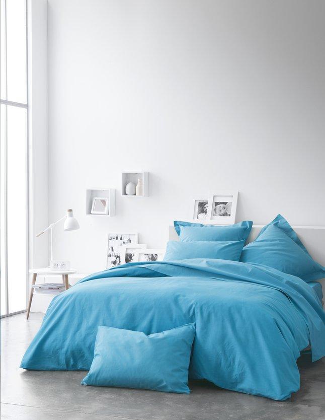 Image pour Housse de couette Uni coton turquoise à partir de ColliShop
