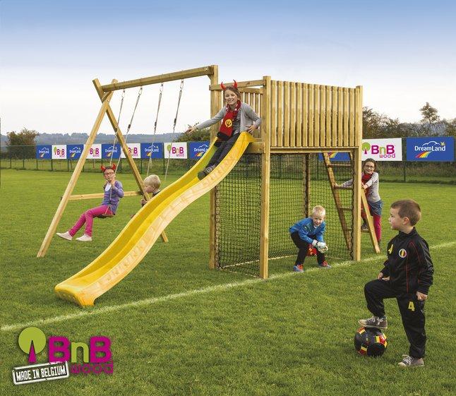 Afbeelding van BnB Wood schommel met speeltoren Goal met gele glijbaan from ColliShop