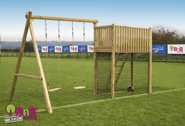 Afbeelding van BnB Wood schommel met speeltoren Goal België zonder glijbaan from ColliShop