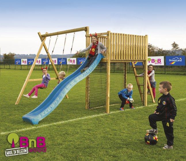 Image pour BnB Wood portique avec tour de jeu Goal et toboggan bleu à partir de ColliShop