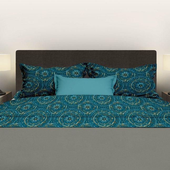 Image pour Romanette Drap de lit Libby turquoise flanelle 180 x 290 cm à partir de ColliShop